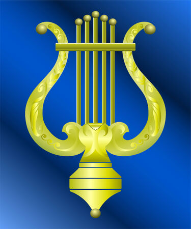 Vector image of vintage gold instrument lyre