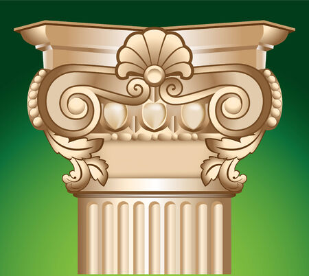 decorated sandy column top capital illustration over green
