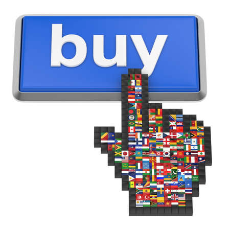 'Buy' button and hand cursor with flags of the world.  photo