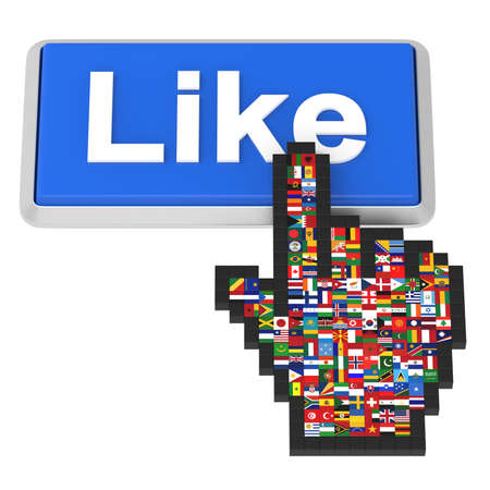 Like button and hand cursor with flags of the world   Stock Photo - 14239688