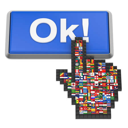 Ok  button and hand cursor with flags of the world