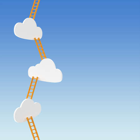 Abstract background with clouds and ladders