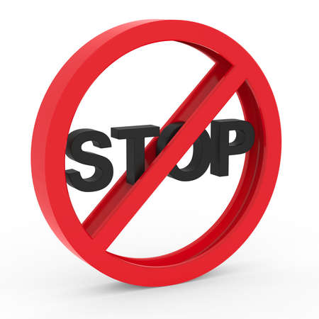 warning against a white background: No stop icon Stock Photo