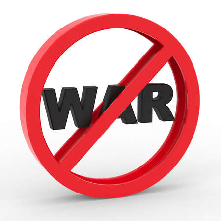warning against a white background: No war icon  Stock Photo