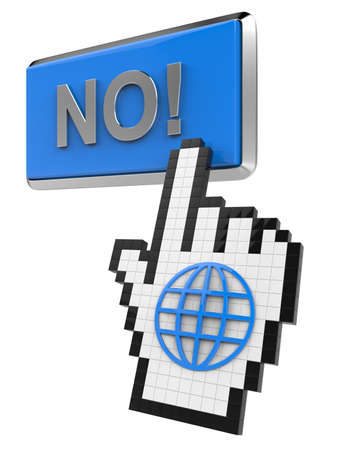No! button and hand cursor with icon of the globe.  Stock Photo