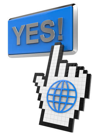 Yes! button and hand cursor with icon of the globe.  Stock Photo