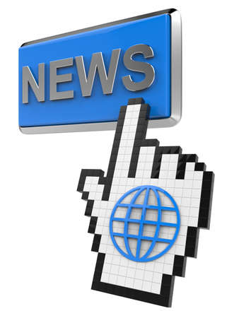 News button and hand cursor with icon of the globe. Stock Photo - 14319196