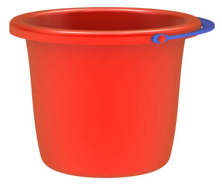Empty red bucket isolated on white background.  Stock Photo