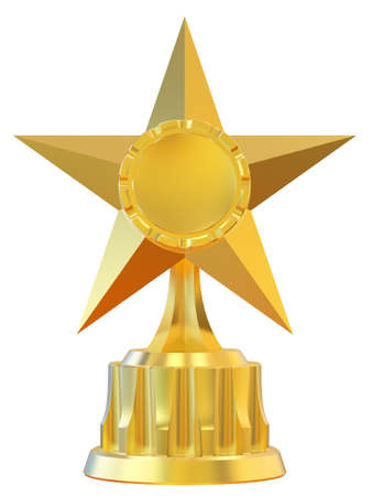 Abstract star award isolated on white background. 3d illustration. illustration