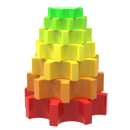 Abstract colorful pyramid isolated on white background.