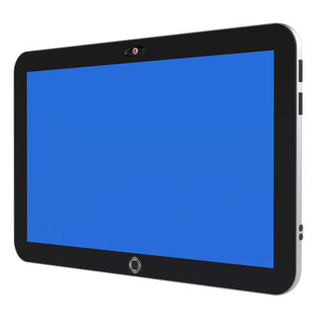 Abstract digital tablet PC with blue screen isolated on white background. 3d render. photo