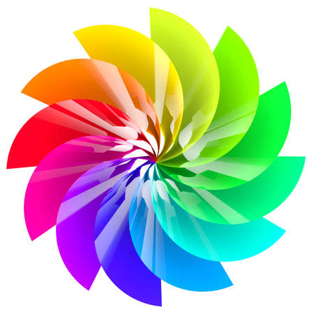 Colorful abstract flower isolated on white background  Stock Photo
