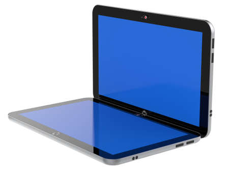 Abstract digital tablet PC with blue screen isolated on white background  3d render Stock Photo - 16184229