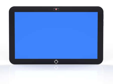 PC Resumen tableta digital con pantalla azul aislado sobre fondo blanco procesamiento 3d