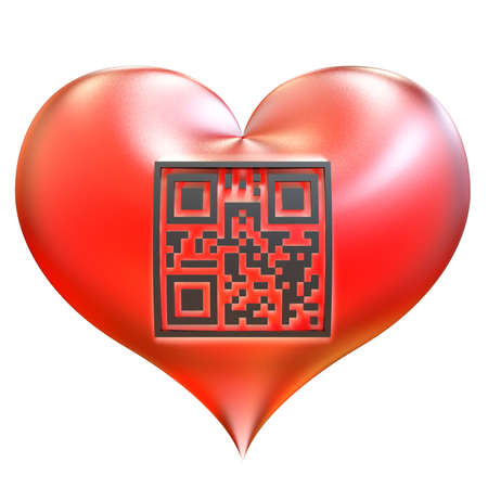 Valentine heart with QR code isolated on white background. QR code with encrypted text - I Love You! photo