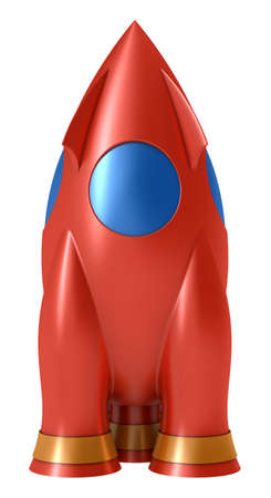 Toy rocket isolated on white background photo