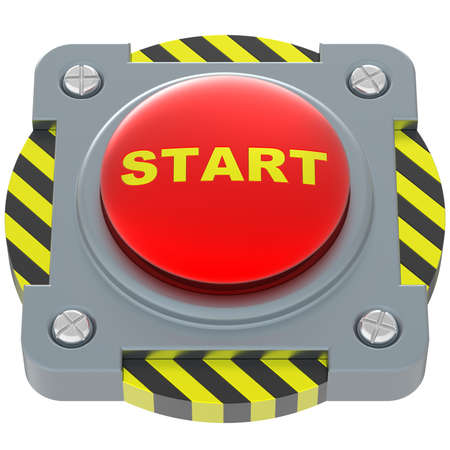 Start red button isolated on white background. photo