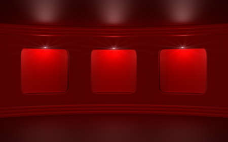 Empty red gallery. Abstract 3d illustration. illustration