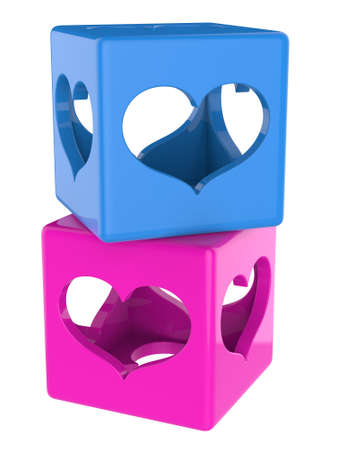 twain: Cubes with hearts isolated on white background. Stock Photo