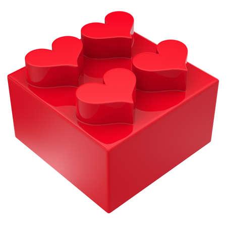 Bloque de juguete con corazones aislados sobre fondo blanco Resumen 3d
