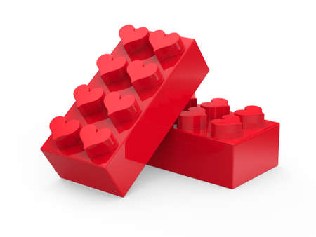 Toy blocks with hearts isolated on white background  Abstract 3d render  Stock Photo
