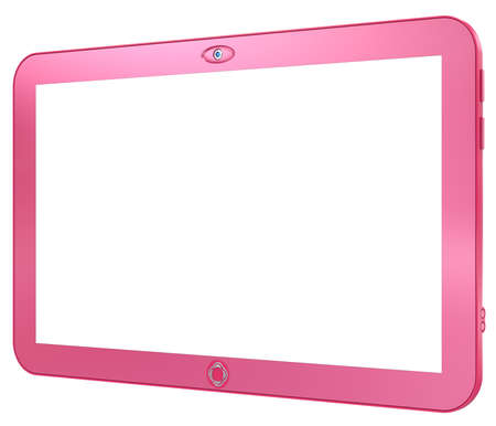 Glamorous pink tablet PC isolated on white background. Abstract 3d render. Stock Photo - 19071998