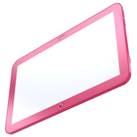 Tableta rosa Glamorous PC aislado sobre fondo blanco. Resumen 3d.