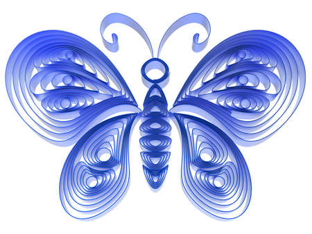 quilling: Abstract blue butterfly isolated on white background. 3d illustration in pseudo quilling style.