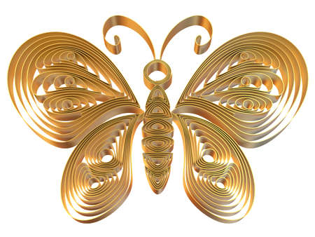 Abstract yellow butterfly isolated on white background. 3d illustration in pseudo quilling style. Stock Illustration - 19072095