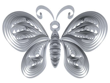 Abstract silver butterfly isolated on white background. 3d illustration in pseudo quilling style. Stock Illustration - 19072094