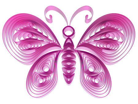 Abstract pink butterfly isolated on white background. 3d illustration in pseudo quilling style. Stock Illustration - 19072106