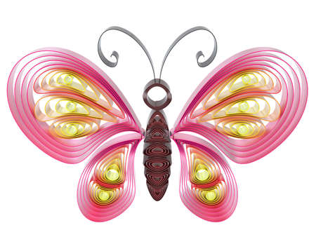 3d butterfly: Abstract  colorful butterfly isolated on white background. 3d illustration in pseudo quilling style.