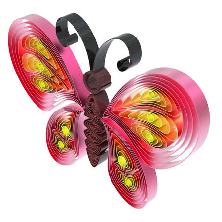 Abstract  colorful butterfly isolated on white background. 3d illustration in pseudo quilling style. Stock Illustration - 19072076