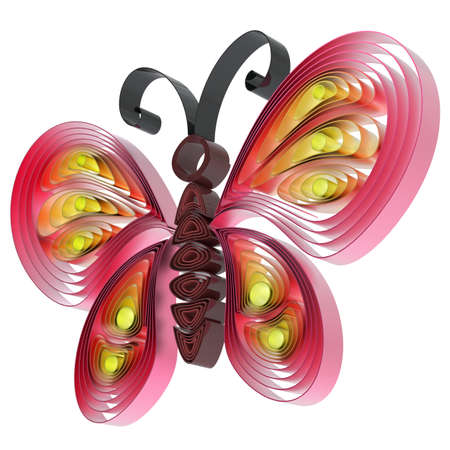 quilling: Abstract  colorful butterfly isolated on white background. 3d illustration in pseudo quilling style.