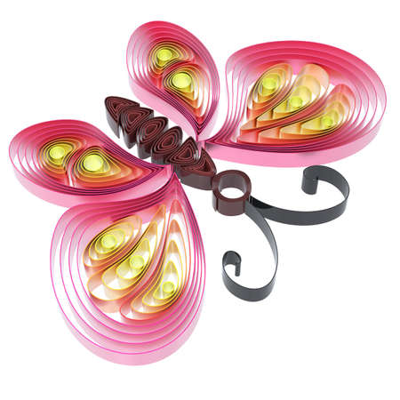 Abstract  colorful butterfly isolated on white background. 3d illustration in pseudo quilling style. Stock Illustration - 19072069