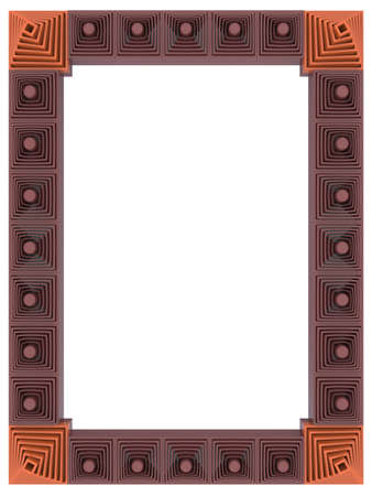 Abstract frame isolated on white background. 3d rendering. Stock Photo