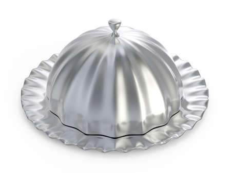 Abstract silver food tray isolated on white background
