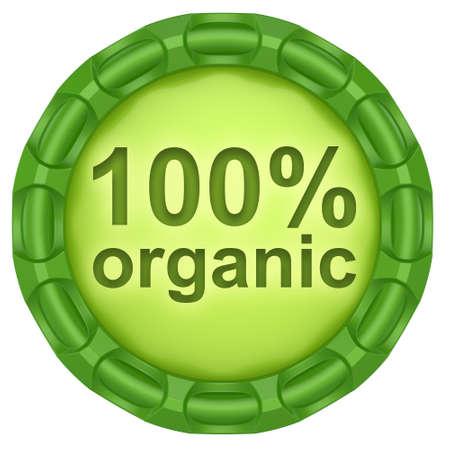 100 etiqueta verde org�nico abstracto aislado en fondo blanco