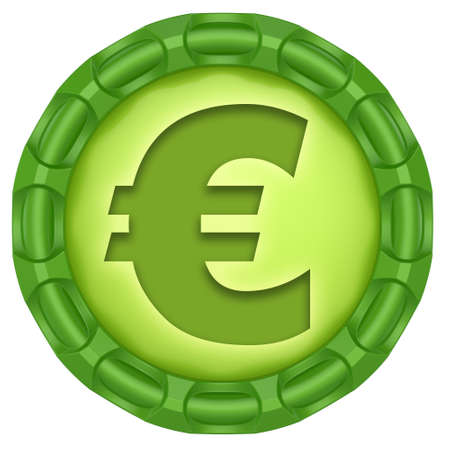 S�mbolo del euro etiqueta verde abstracto aislado sobre fondo blanco.