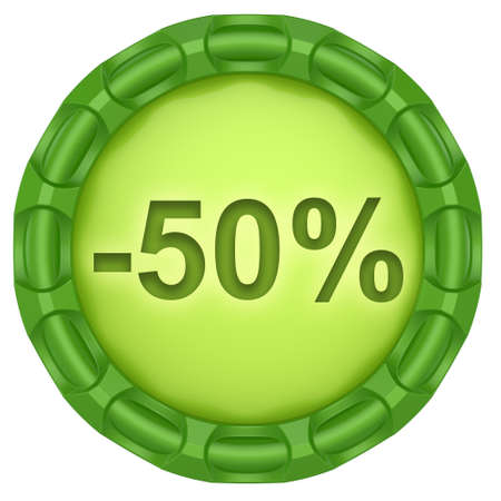 Minus 50 percent. Abstract green label isolated on white background. photo