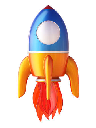 rocketship: Abstract 3d rocket isolated on white background.
