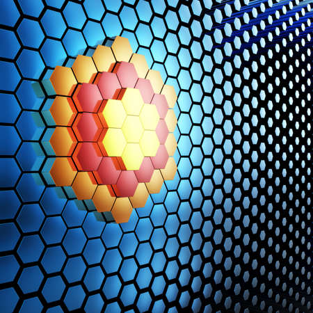 technologic: Abstract 3D technological background with hexagons. Stock Photo
