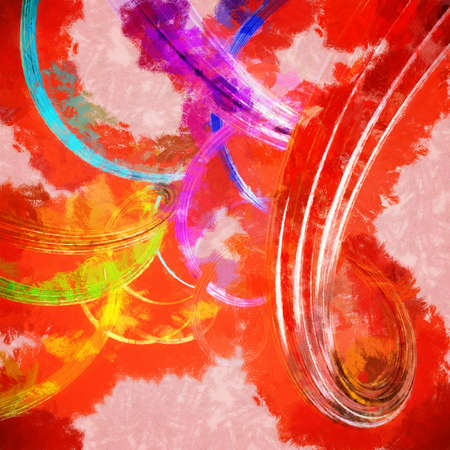 Abstract background with colorful wavy twisted ribbons. 3d render with paint effect. Stock Photo