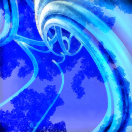Abstract background with wavy twisted ribbons. 3d render with paint effect.