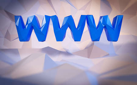 webhosting: Abstract low-poly background. Word concept. Text WWW. 3d render. Stock Photo