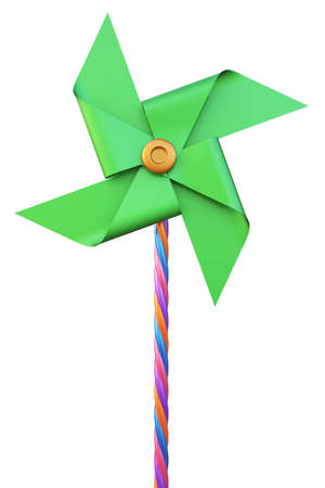 Abstract toy windmill isolated on white background. 3d render.
