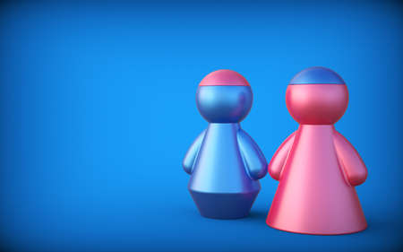 Abstract concept with figures of man and woman. Exchange brain. 3d render. Stock Photo