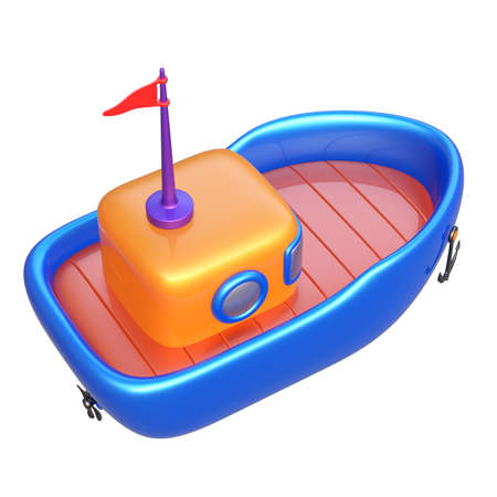 Abstract toy boat isolated on white background. 3d render. Stock Photo