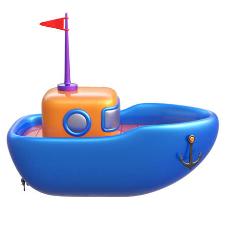 3d boat: Abstract toy boat isolated on white background. 3d render. Stock Photo