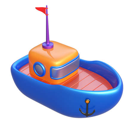 toy boat: Abstract toy boat isolated on white background. 3d render. Stock Photo